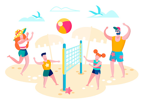 Family Playing Volleyball on Beach Vector Concept
