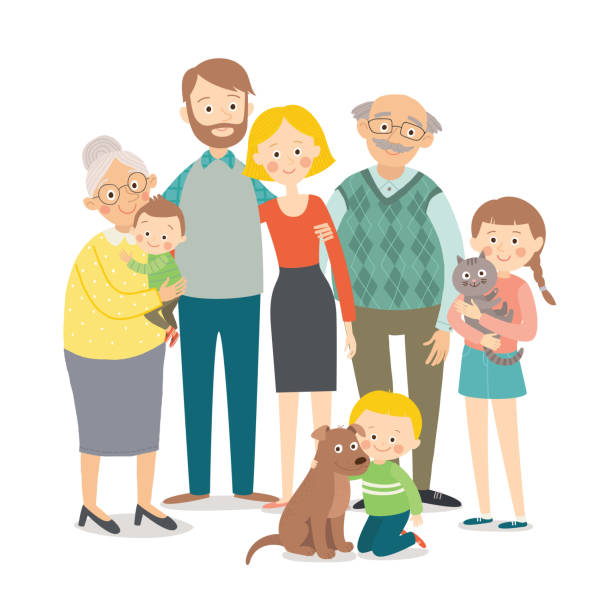 family portrait. big happy multi-generational family together. cartoon vector hand drawn eps 10 illustration isolated on white background in a flat style. - old man smiling silhouettes stock illustrations, clip art, cartoons, & icons