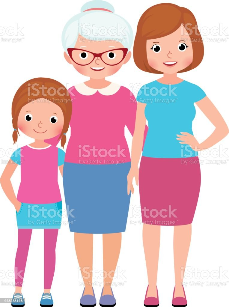Family portrait Daughter mother and grandmother three generations of women vector art illustration