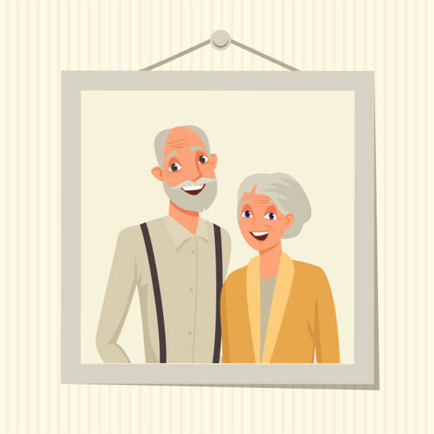 family portrait in frame vector illustration - old man portrait drawing stock illustrations, clip art, cartoons, & icons