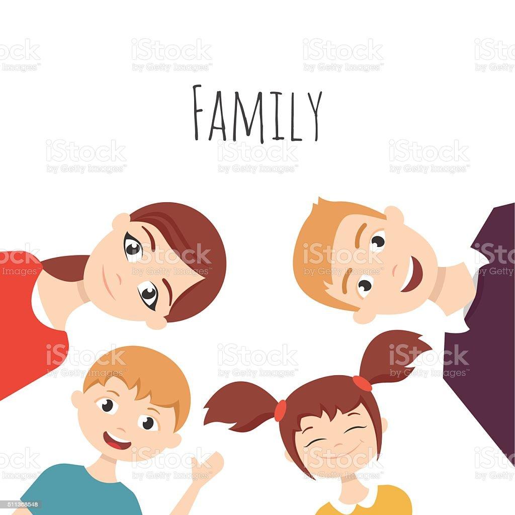 Молодые хорошие смотря папа, мама, дочь и сын семьи Иллюстрация ... | 1024x1024