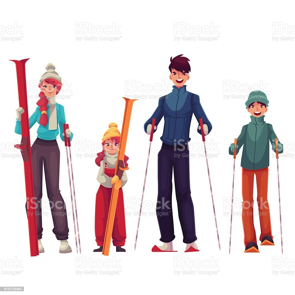 Family portrait of father, mother, daughter and son with ski - Illustration vectorielle