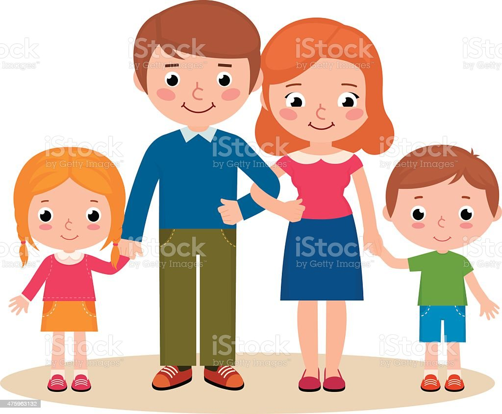 Image My Famly Png: Family Portrait Of Parents And Their Children Stock Vector