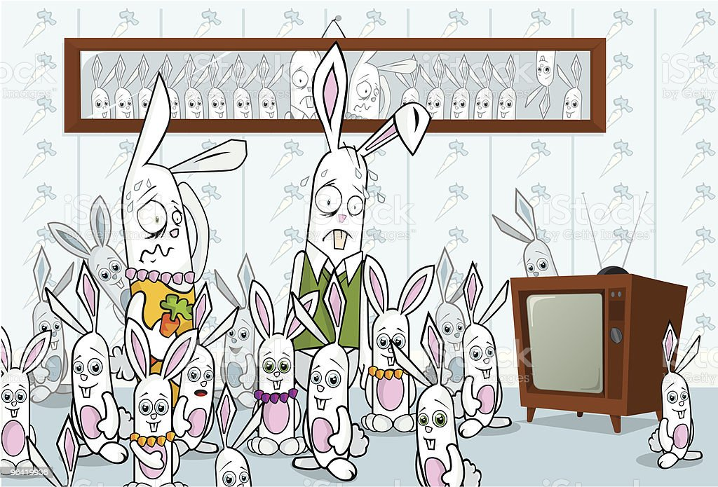 Family Portrait of Stressed out Rabbits in Chaos vector art illustration