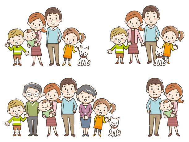 illustrazioni stock, clip art, cartoni animati e icone di tendenza di family portrait of three generations parents children and grandchildren on white background stock vector illustration - solo giapponesi