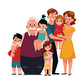 Family portrait - parents, children, grandfather, grandchildren hugging each other, cartoon vector illustration on white background. Full length portrait of family members standing together, hugging