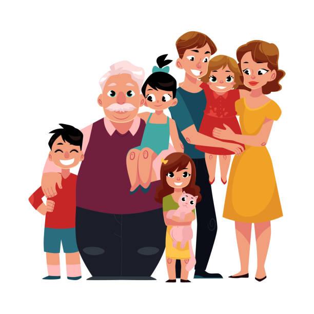 家族の肖像 - 両親、子供、おじいさん、孫たちがお互いをハグ - 家族写真点のイラスト素材/クリップアート素材/マンガ素材/アイコン素材
