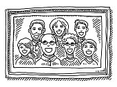 Hand-drawn vector drawing of a Family Portrait in a Picture Frame. Black-and-White sketch on a transparent background (.eps-file). Included files are EPS (v10) and Hi-Res JPG.