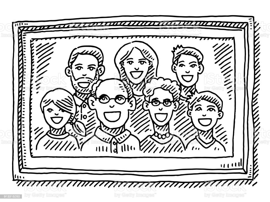Family Portrait Picture Frame Drawing vector art illustration
