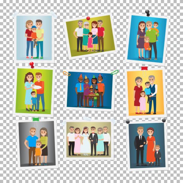 家族の肖像画セット。結婚、誕生日、休日 - 家族写真点のイラスト素材/クリップアート素材/マンガ素材/アイコン素材