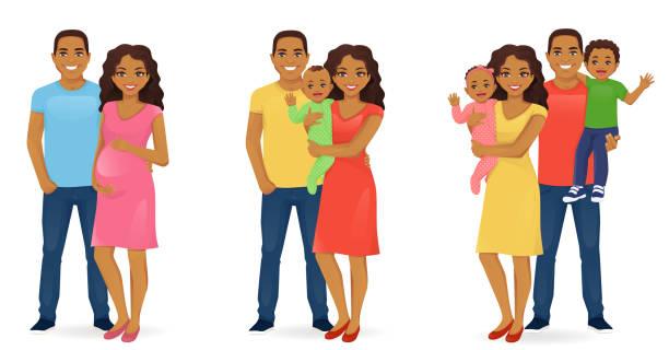 ilustraciones, imágenes clip art, dibujos animados e iconos de stock de conjunto de retrato de familia - black people