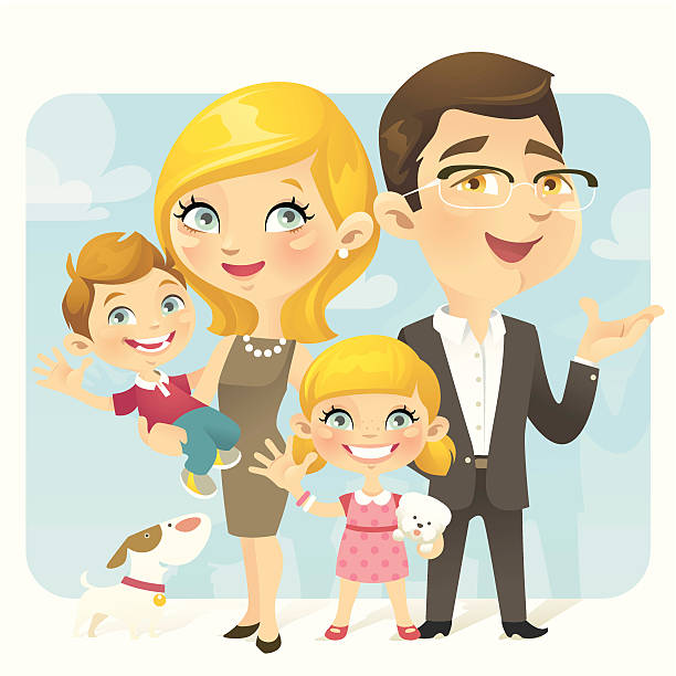 family portrait - chihhang stock illustrations
