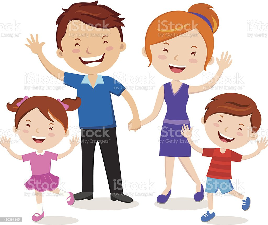 Family portrait vector art illustration
