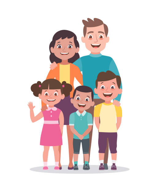 Family portrait vector illustration. Parents with a girl and two boys. Family portrait. Father, mother, daughter and sons. Full lenght portrait of family members standing together. Vector illustration in cartoon style isolated on white background. happy family stock illustrations