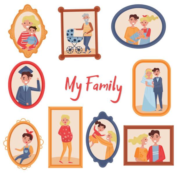木製フレーム ベクトル イラスト白い背景の上に家族の写真の設定、家族の肖像画 - 家族写真点のイラスト素材/クリップアート素材/マンガ素材/アイコン素材