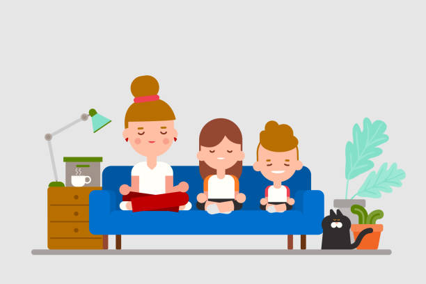 bildbanksillustrationer, clip art samt tecknat material och ikoner med familjepraktik sitter meditation tillsammans på soffan. platt design stil tecknad illustration. - working from home