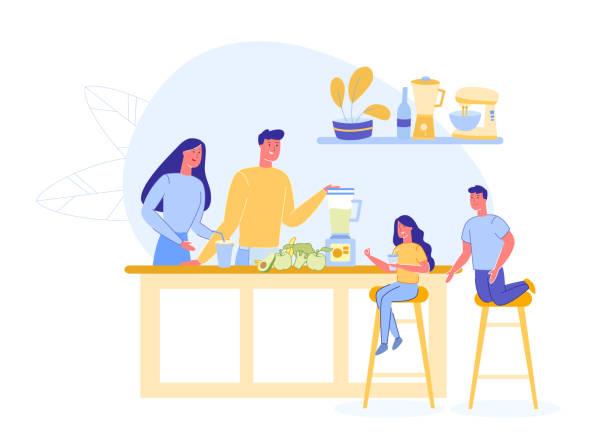 Family Preparing Vegetarian Shake or Smoothie.