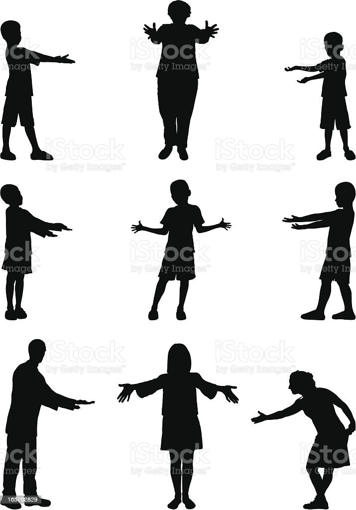 Family Presenting vector art illustration