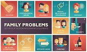 Family problems- flat design icons set