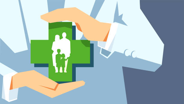 illustrazioni stock, clip art, cartoni animati e icone di tendenza di family protection. insurance concept. agent or doctor holds in hands family symbol isolated on gray background. - paziente