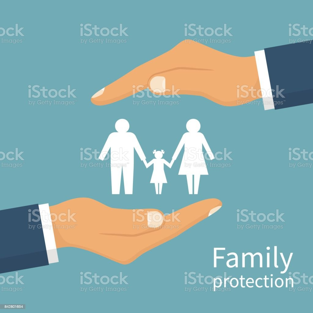 Family protection. Insurance concept. vector art illustration