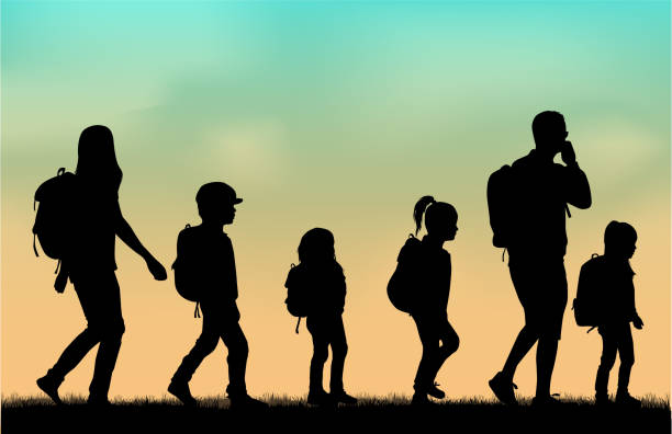 Family reaching with backpacks on a trip. vector art illustration