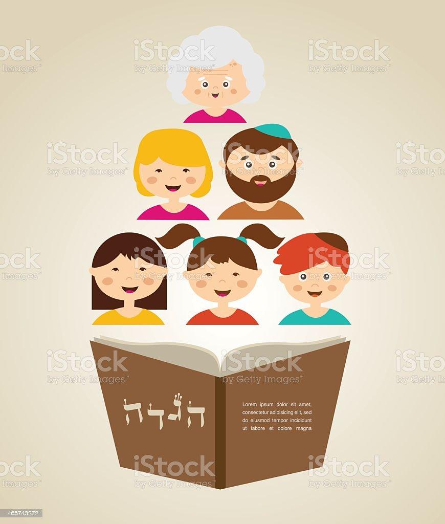 family reading hagada book at passover holiday, vector art illustration