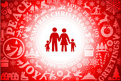 Family  Red Christmas Holiday Background. The main focus of this vector illustration is the red icon which is placed in the center inside a white circle. The background is red and is filled with a festive Christmas holiday pattern. The pattern includes popular Christmas holiday icons and greetings. The composition creates a seamless pattern and is perfect for winter holiday themes.