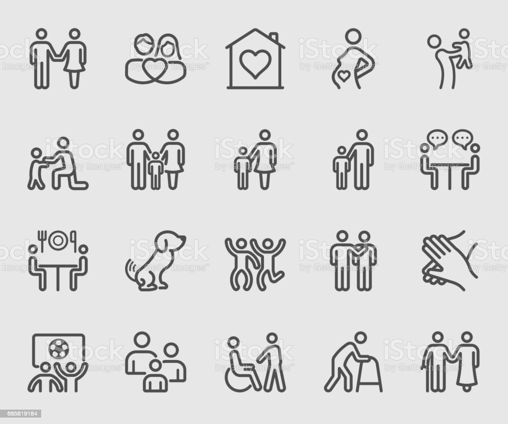 Family relation line icon royalty-free family relation line icon stock illustration - download image now