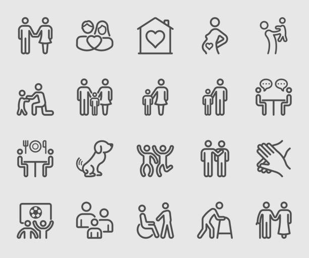 family relation line icon - happy family stock illustrations
