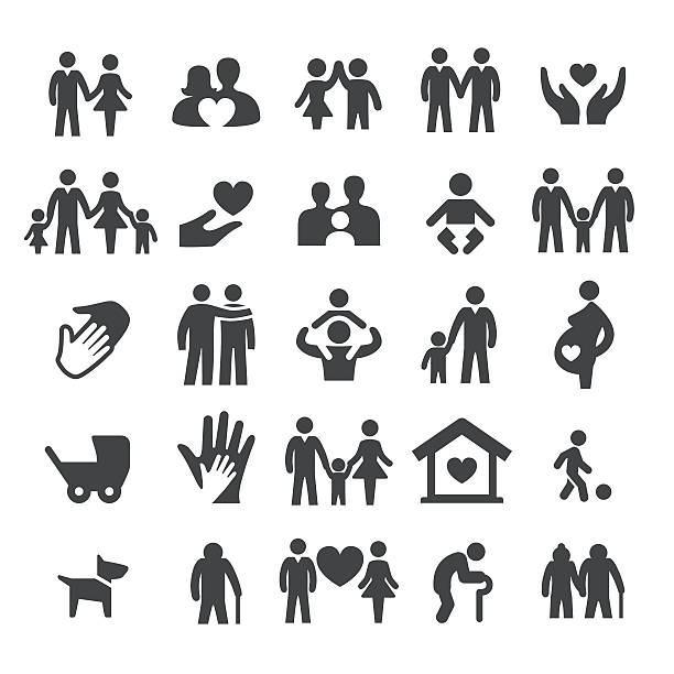 family relations icons - smart series - old man in black stock illustrations, clip art, cartoons, & icons