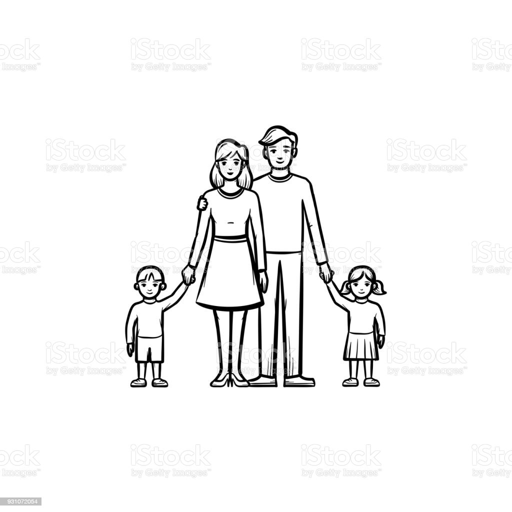 Family relationship hand drawn sketch icon vector art illustration
