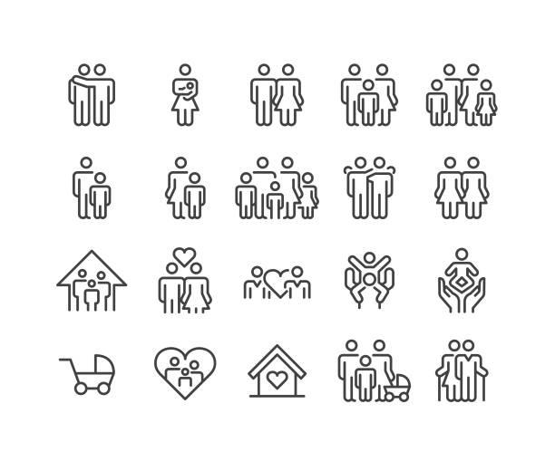 illustrazioni stock, clip art, cartoni animati e icone di tendenza di icone delle relazioni familiari - serie linea classica - family