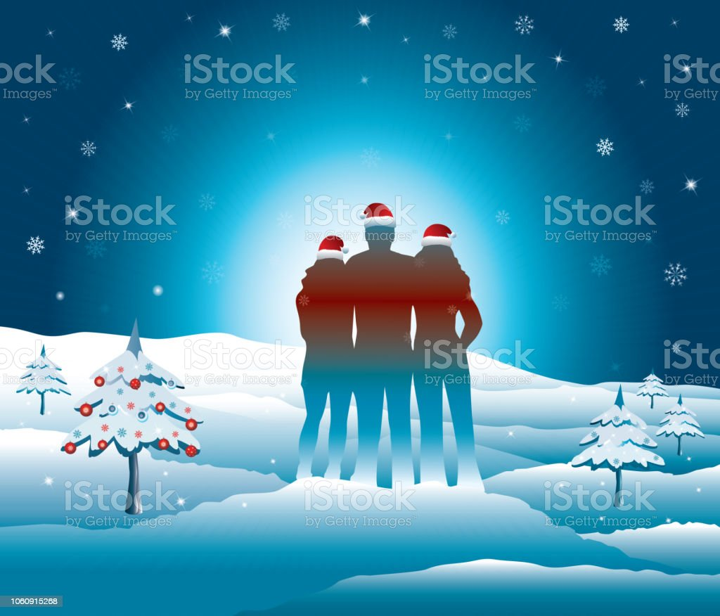 Family relaxing and enjoying time together in snowy mountains. vector art illustration