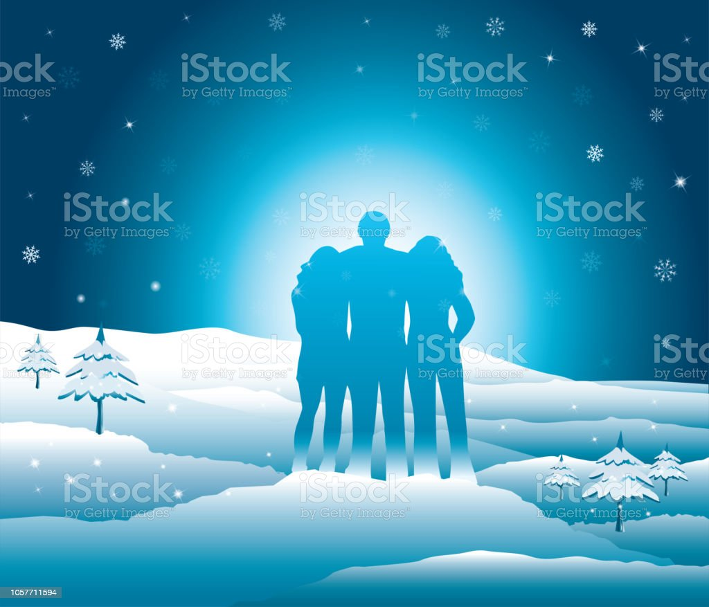 Family relaxing and enjoyingtime together in snowy mountains. vector art illustration