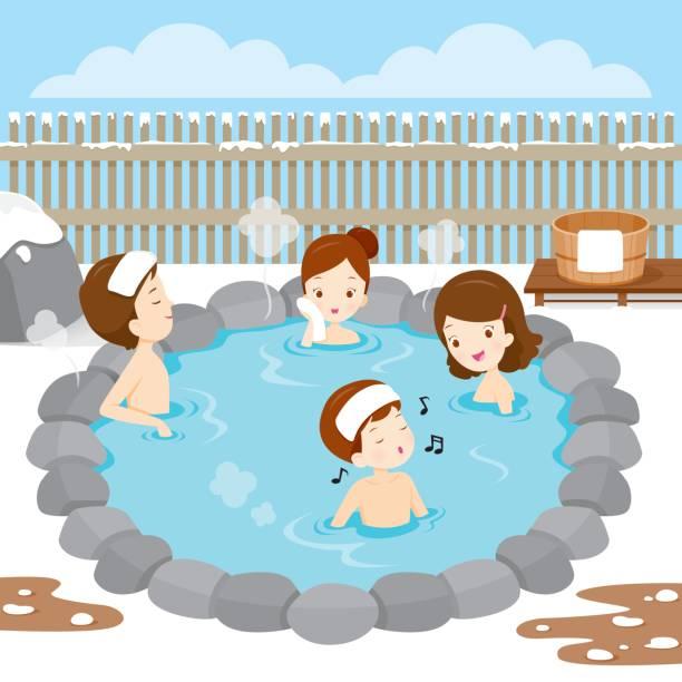 bildbanksillustrationer, clip art samt tecknat material och ikoner med familjen koppla av i varm källa - japanese bath woman