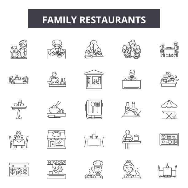 family restaurants line icons, signs set, vector. family restaurants outline concept, illustration: restaurant,family,food,people,business - family dinner stock illustrations