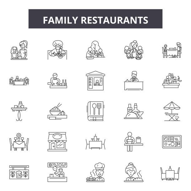 패밀리 레스토랑 라인 아이콘, 기호 설정, 벡터. 패밀리 레스토랑 개요 컨셉, 일러스트레이션: 레스토랑, 가족, 음식, 인물 - 가정 물건 실루엣 stock illustrations