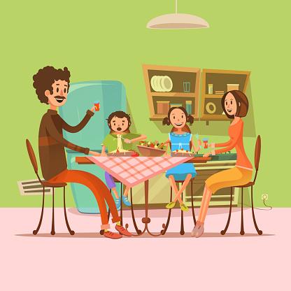 family retro cartoon retro 3