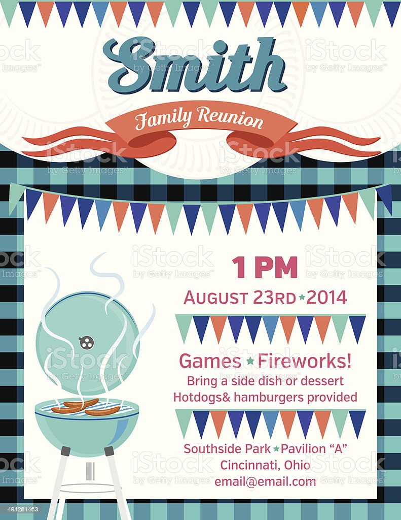 Family Reunion BBQ Invitation Template vector art illustration