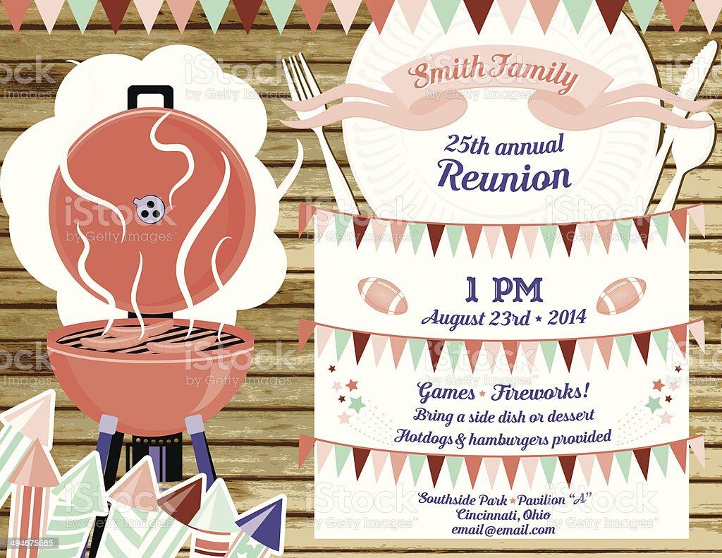 family reunion bbq invitation template stock vector art