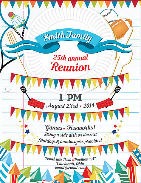 family reunion bbq invitation template - family reunion stock illustrations, clip art, cartoons, & icons