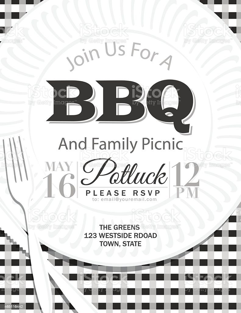 Family Reunion BBQ Paper Plate Invitation Template Gray vector art illustration
