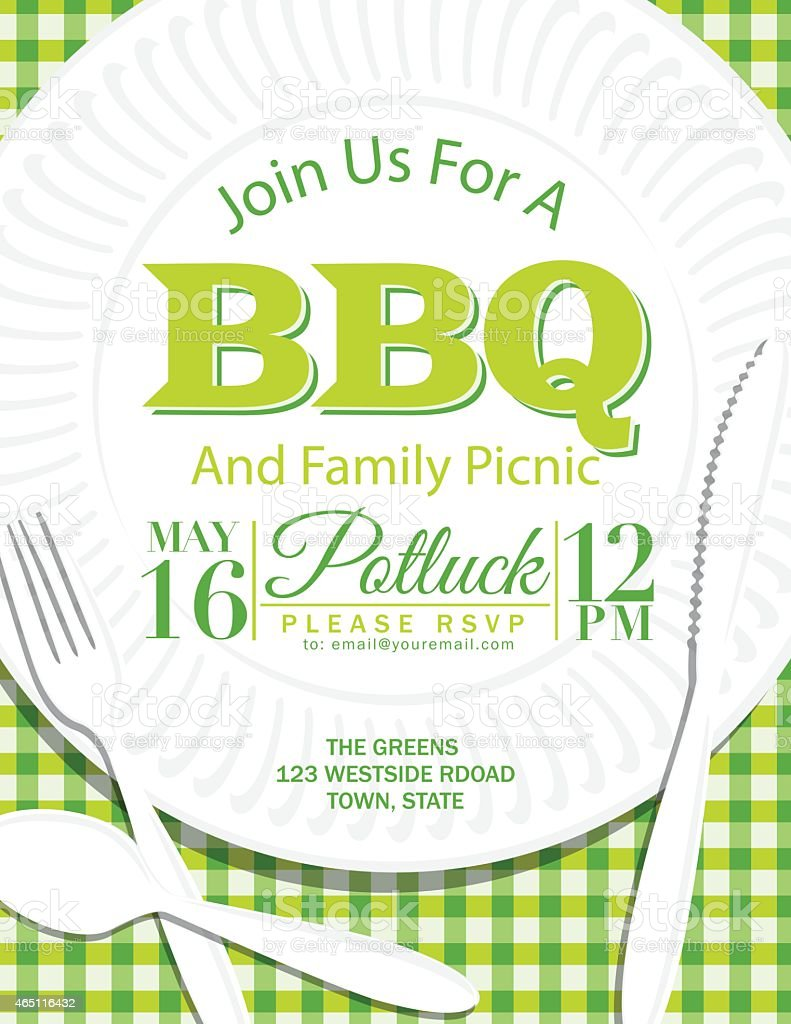 Family Reunion BBQ Paper Plate Invitation Template Green vector art illustration