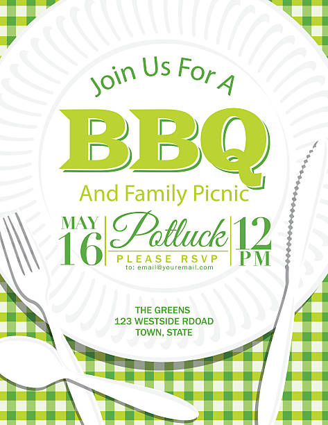 family reunion bbq paper plate invitation template green - family reunion stock illustrations, clip art, cartoons, & icons