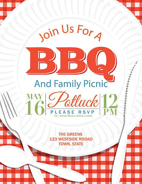 ilustraciones, imágenes clip art, dibujos animados e iconos de stock de reunión familiar bbq plato de papel de la plantilla de invitación, rojo - picnic