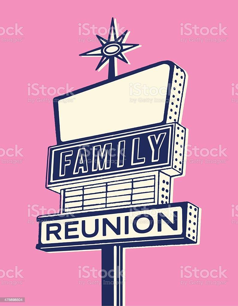 Reunión familiar señal - ilustración de arte vectorial