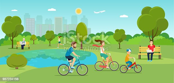 Family riding a bicycle Grandfather sitting on the bench and reading newspaper Young man sitting on the bench and working with laptop and Running girl in the park. Vector flat illustration