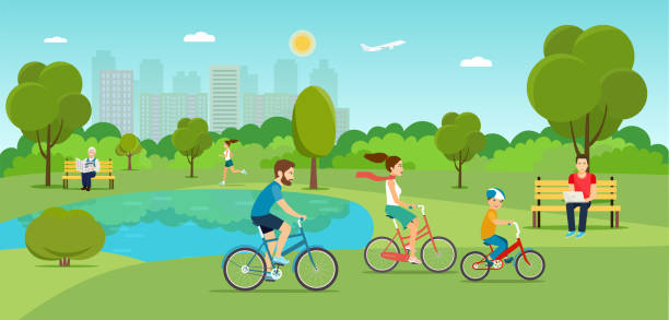 family riding a bicycle  in the park. vector flat illustration - cartoon kids stock illustrations, clip art, cartoons, & icons