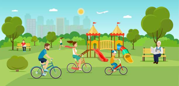 stockillustraties, clipart, cartoons en iconen met familie rijden een fiets running meisje in het park. speeltuin. platte vectorillustratie - beschermd natuurgebied